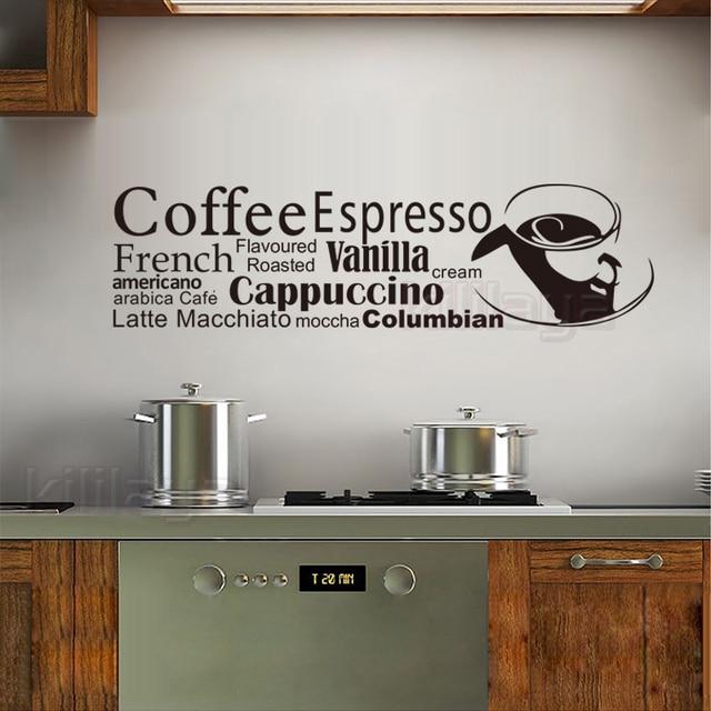 Adesivi Cucina Francese Tazza di Caffè Adesivo Da Parete In Vinile ...