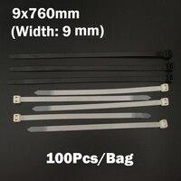 9*760 ملليمتر 9x760 ملليمتر (9 ملليمتر العرض) أسود أبيض شبكة الأسلاك سلسلة حزام التفاف ربط العلاقات البريدي الذاتي قفل النايلون البلاستيك الكابل ا...