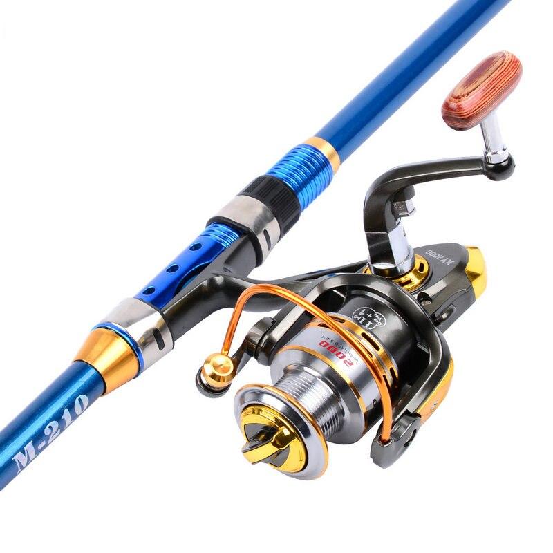 Canne à pêche de bâton de 2.1 m 2.4 m 2.7 m canne à pêche de Fiber de carbone pour le poisson Olta filant la canne à pêche télescopique réglée avec le poteau de bobine