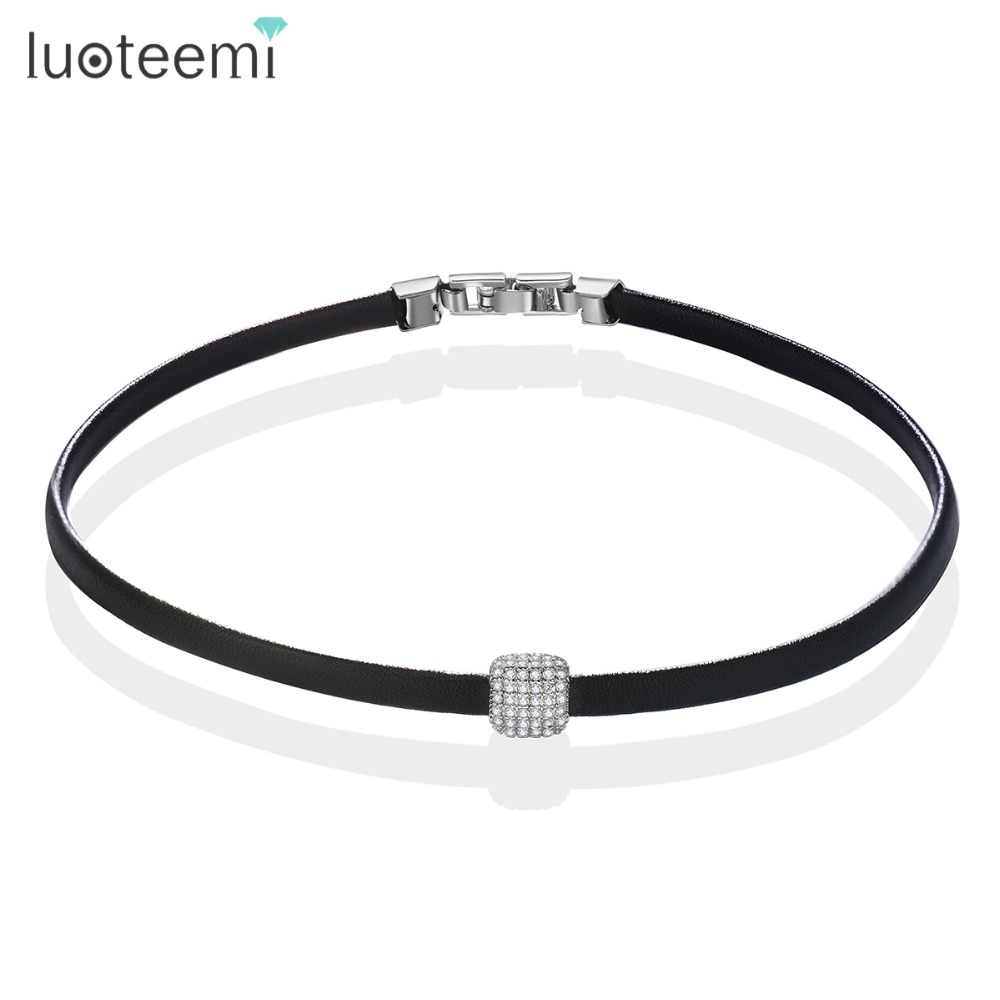 LUOTEEMI Brand Elegant Leather Choker Black Necklace Gothic Design Micro Pave Set Cubic Zircon Square Collares Bijoux For Women