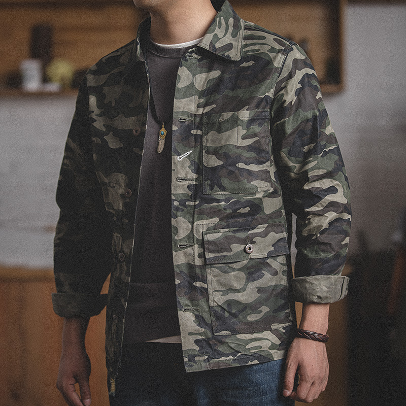 MADEN Men's Camo Waxed Canvas Cotton Military Jacket Work Trucker Jacket