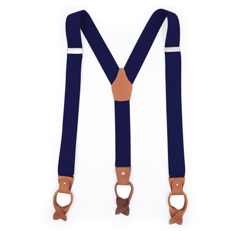 2019 Fashion Trend New Men's 6 Clip Button Adult Strap Brown Leather Casual Suspender Belt Extended Version