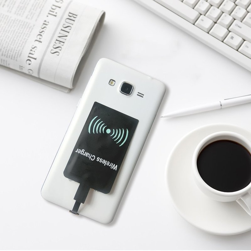 <font><b>QI</b></font> Wireless Charging Receiver Micro USB / Type C Adapter Universal <font><b>QI</b></font> Wireless Charging Cradle Receiver For <font><b>iPhone</b></font> <font><b>6</b></font> 7 6s plus image