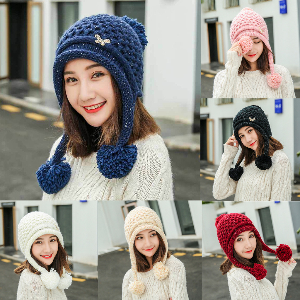 Fashion winter women solid color thick warm knited ball headgear beanie tail female casual hats caps #20