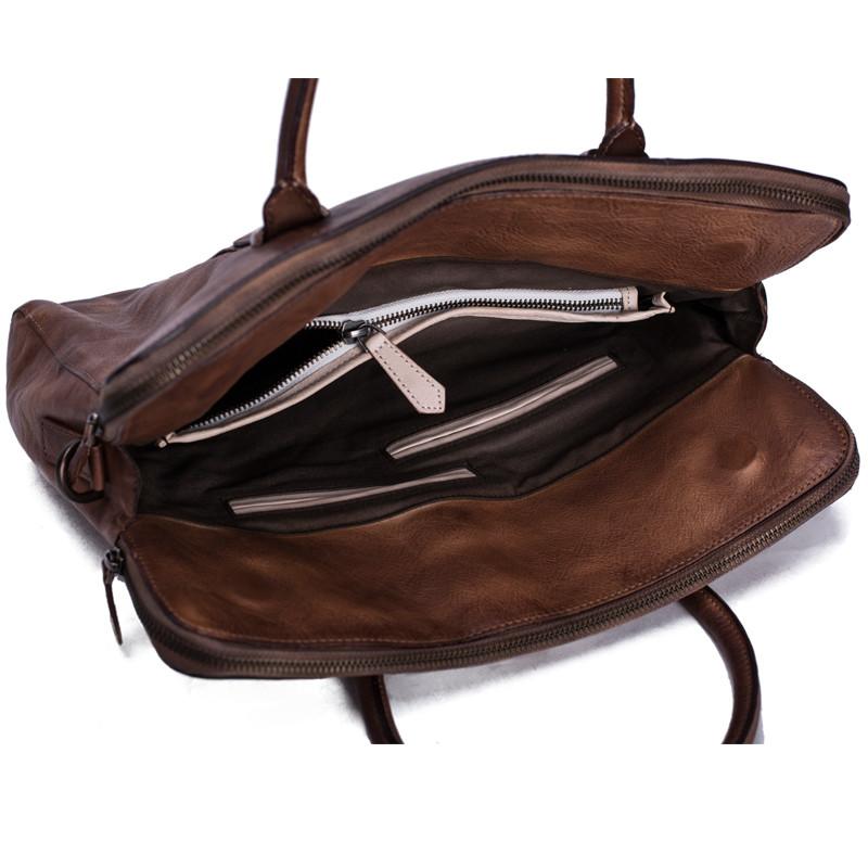 Vintage Vegetable Tanned Men Leather Briefcase Messenger Bag Laptop Bag 8