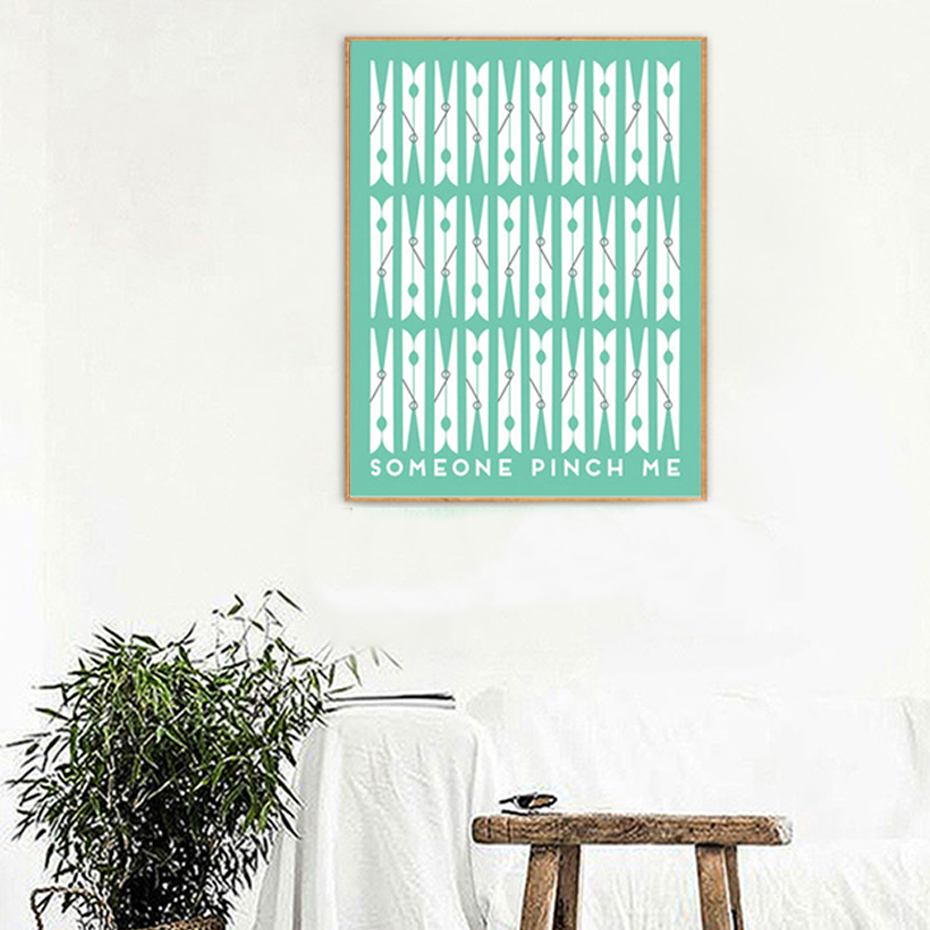 clip wall painting canvas decor laundry modern poster nordic typography prints garden room