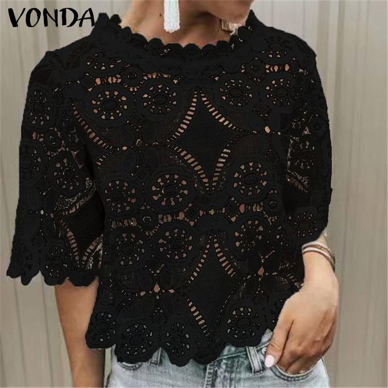 Women Bohemian Plus Size White Blouse VONDA Elegant O-Neck Hollow Out Short Sleeve Lace Solid Tops Casual Loose Shirt Blusa 5XL