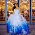 Íris Coloridos Vestidos Quinceanera 2016 Branco E Azul Debutante Vestidos de Baile Barato Vestidos de 15 anos Menina Vestido Pageant