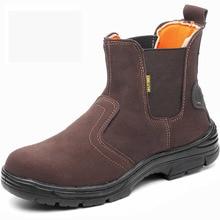 Erkek rahat büyük boy kaynakçı elbise çelik ayakkabı burnu çalışma güvenliği kaynak ayakkabı ilkbahar sonbahar hakiki deri platformu yarım çizmeler