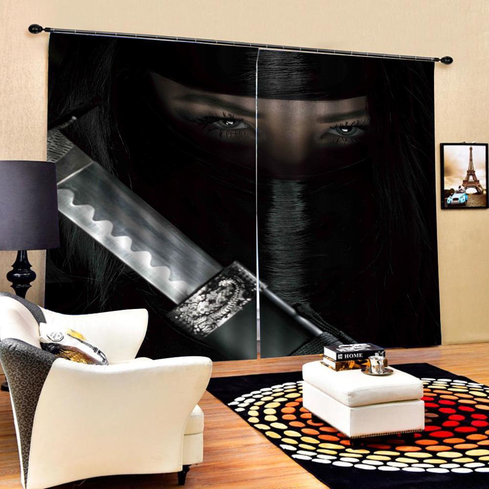 Noir visage rideaux occultant rideau bureau chambre 3D fenêtre rideau luxe salon décorer Cortina