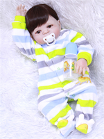 55cm Boneca Bebe Reborn With Blue/Brown Eyes DOLLMAI Silicone Reborn Boy Doll in Striped clothes For Children As Toys To DIY bjd