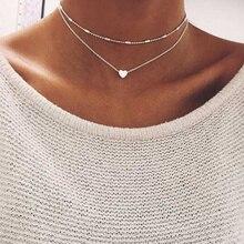 Модное ювелирное изделие, ожерелье с сердечком и кулонами, чокер с двойной цепочкой, ожерелье, воротник, женские массивные ювелирные изделия, бижутерия, вечерние подарки