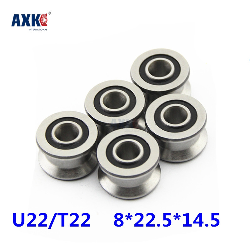 цены Rolamentos High Quality U22 8mm V / U Groove Pulley Bearings 8*22.5*14.5*13.5 Mm Ugroove Roller Wheel Ball Bearing U-22 Tu22