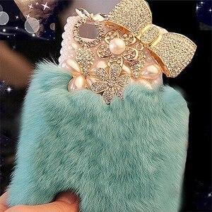 Image 2 - Шикарный чехол с кристаллами и пушистым кроличьим мехом, зимний мягкий чехол с кристаллами, блестящий Меховой чехол для samsung S7, S8, S9, S10, S20 Plus, Note 20, 10, 8, 9