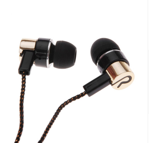 3.5mm kootud kangast rida In-ear kõrvaklapid Super Clear Bass Metal müra isoleeriv Earbud iphone6 ​​MP3 MP4 Xiaomi jaoks