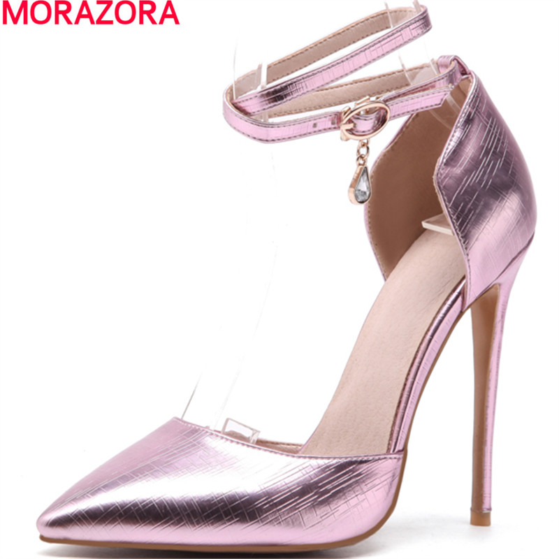 MORAZORA new arrival fashion spring summer pumps women shoes thin heel high heels pointed toe with buckle sexy wedding shoes fashion new spring summer med high heels good quality pointed toe women lady flock leather solid simple sexy casual pumps shoes