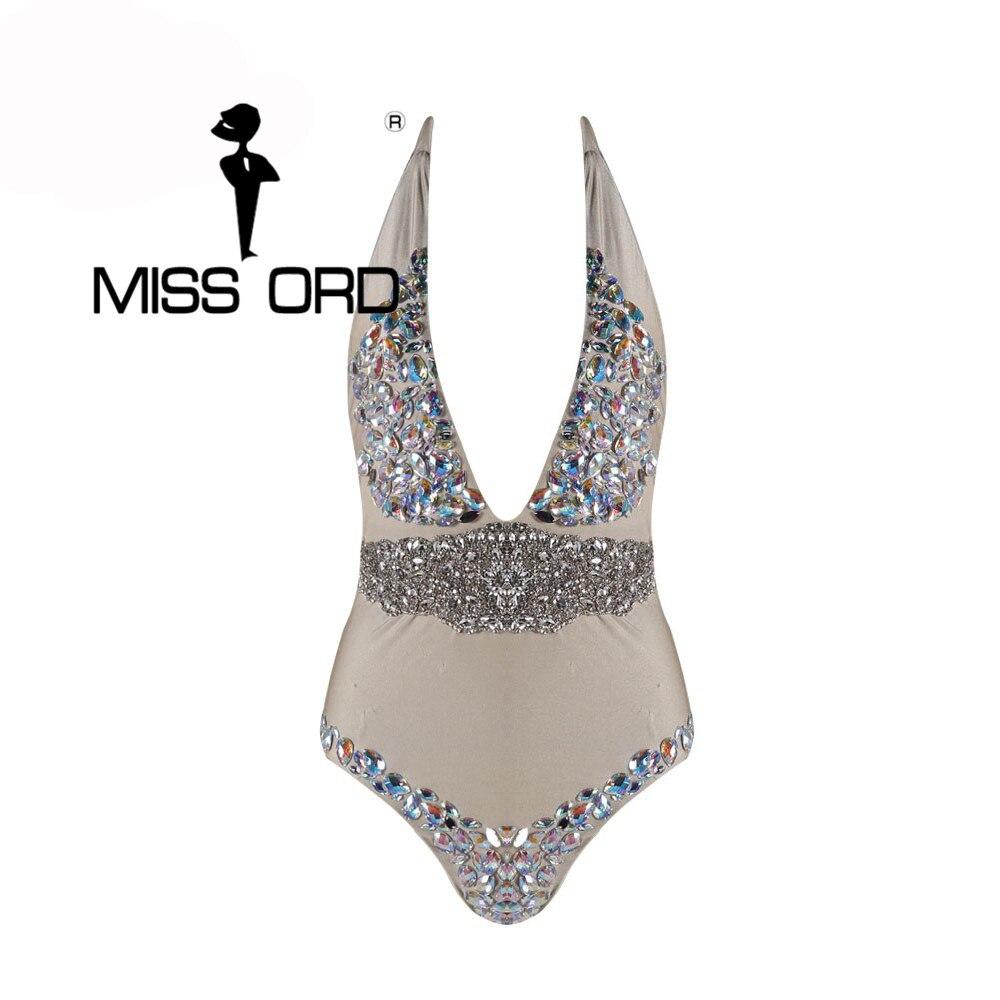 Free Shipping Missord 2017 Sexy Deep V halter diamond FT4338