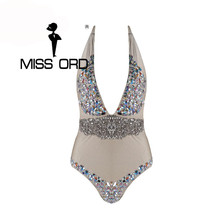 Free Shipping Missord 2017 Sexy  Deep-V halter diamond  FT4338