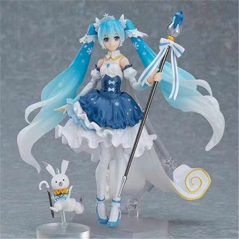Figma Anime Hatsune Miku Virtual Singer 10th Anniversary Snow Miku Joint Movable Dolls PVC Action Figure Model Kid Toy BOX D392
