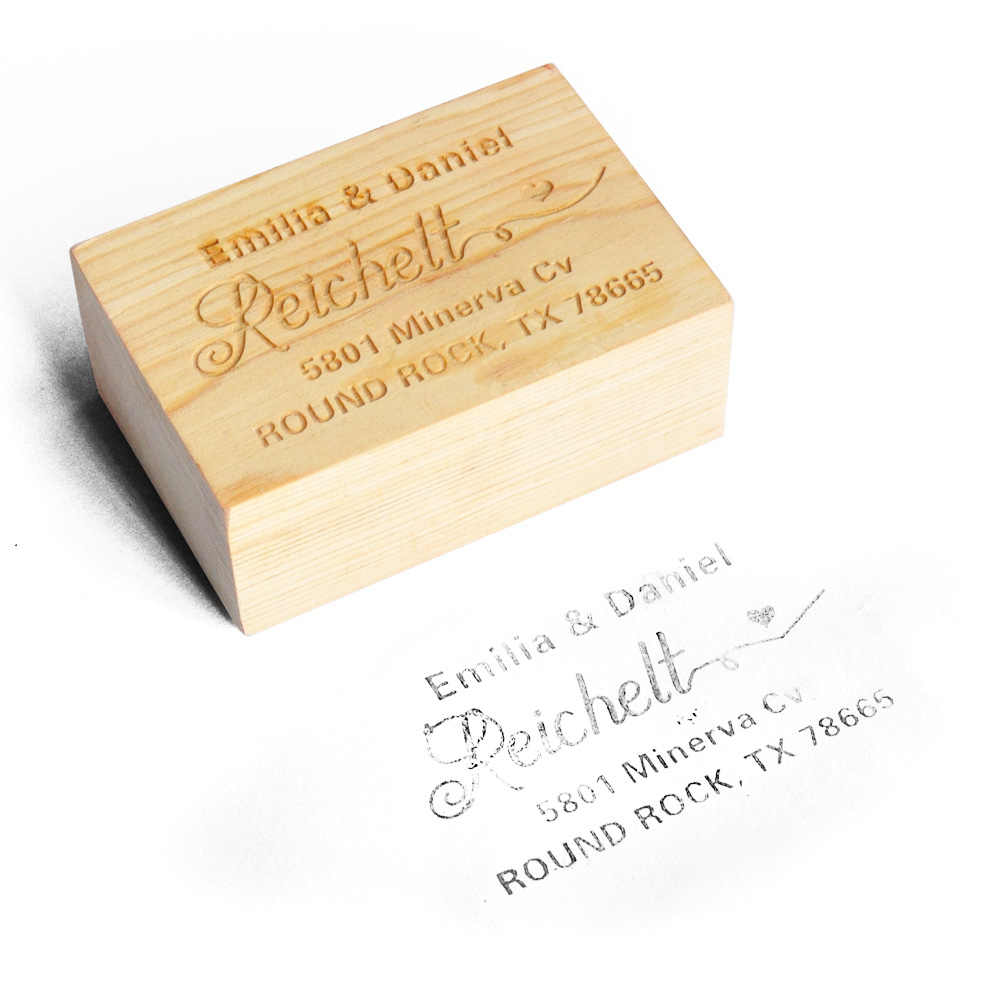 Personalized Wedding Stamp Custom Wood