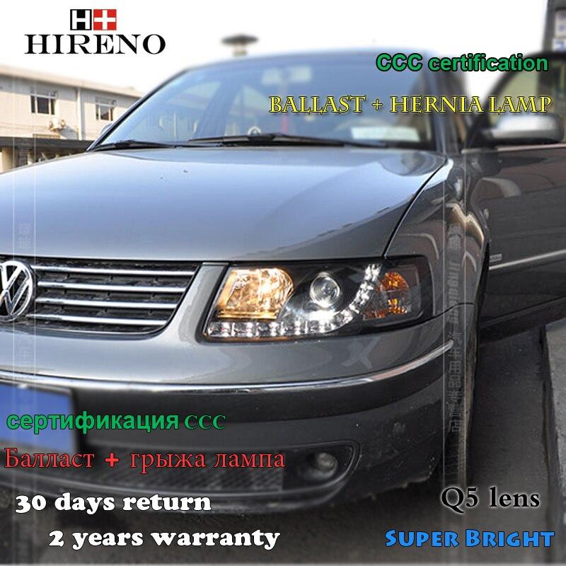 Hireno Headlamp for 1998-2005 Volkswagen Passat B5 Headlight Assembly LED DRL Angel Lens Double Beam HID Xenon 2pcs
