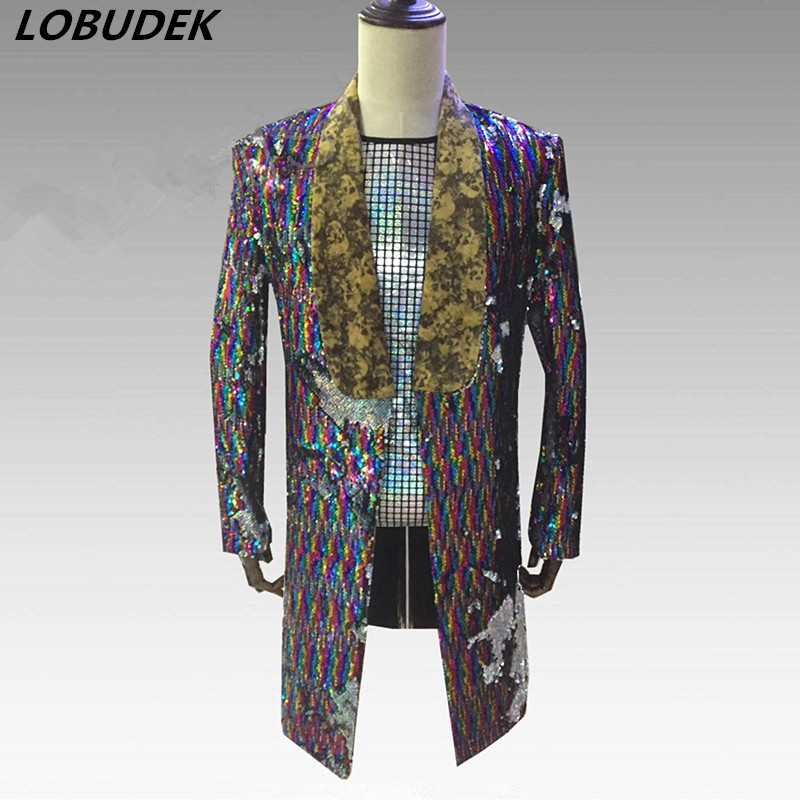Reflector Colored Sequins Blazers Punk Rock Male Singer Long Coat Stage Outfit Flashing Sequins Nightclub Party Compere Costumes