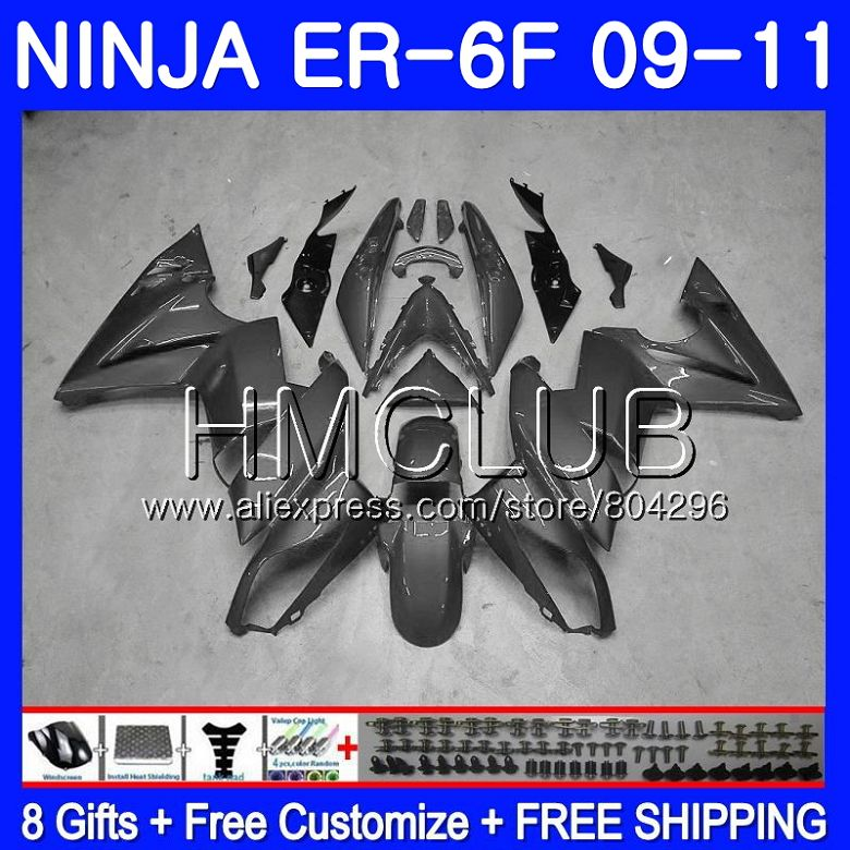 Corps Pour KAWASAKI NINJA 650R ER-6F 06 08 650 ER6F 09 10 11 51HM. 7 Ninja650R ER6 F ER 6F Argenté gris 2009 2010 2011 Carénage Kit