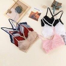 Female Tube Top Summer Bras Underwear Sexy Lace Push Up Bra Adjustable Shoulder Strap