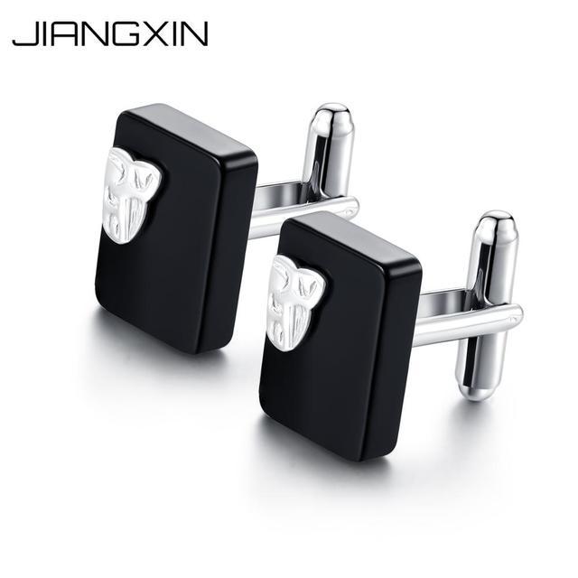 Jiangxin Men S 925 Sterling Silver Black Gemstone Cufflinks Vintage Business Fine Jewelry Nice Gift Husband Father