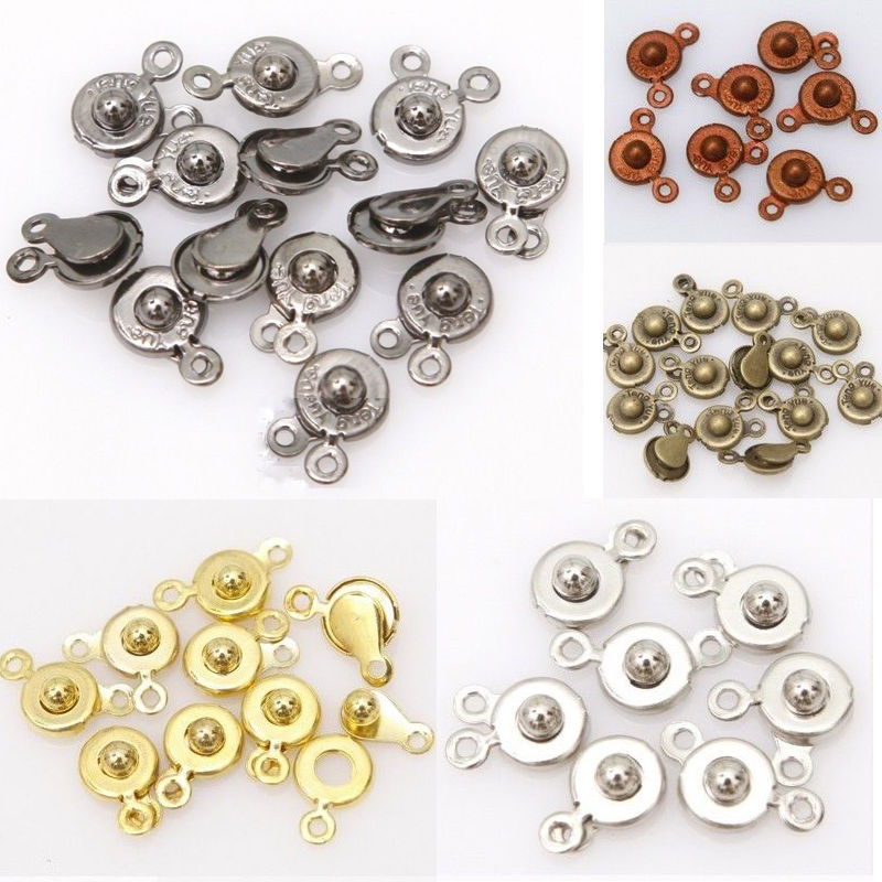 ILOVEDIY 30 Sets/lot 15x8mm Snap Fastener Clasp Hooks Connectors For Bracelet Necklace Making DIY High Quality