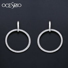 OCESRIO Large Silver Hoop Earrings for Women Big Circle Earrings Crystal Rhinestone Women Jewelry Accessories ers-n98(China)