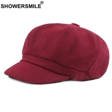 SHOWERSMILE Burgundy Newsboy Caps Women Solid Wool Painters Hat Vintage Female Red British Autumn Winter Octagonal Cap Newsboy red house painters red house painters red house painters