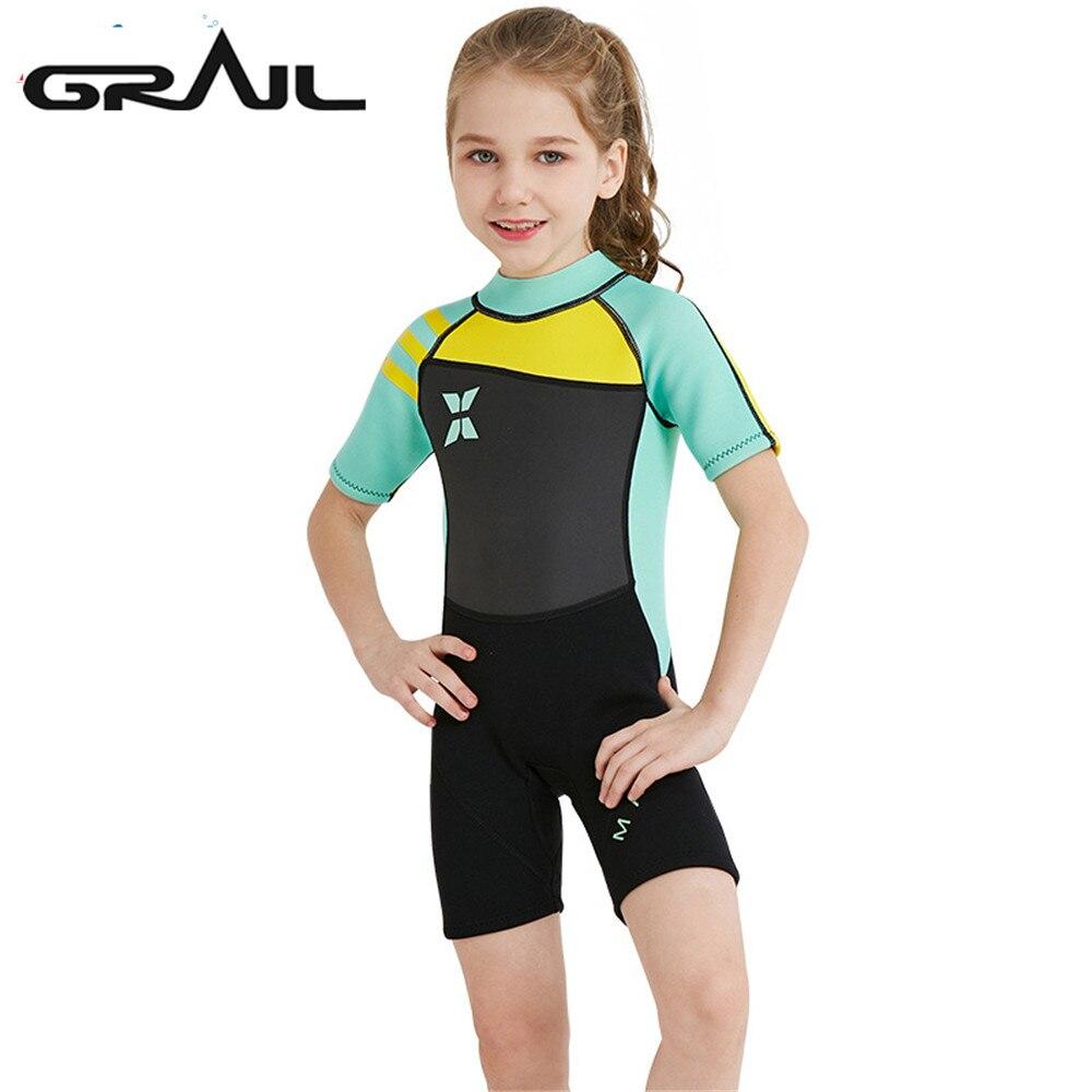 2.5 MM fille néoprène costume plongée natation Surf combinaison humide pour enfants combinaisons à manches longues scaphandre éruptions cutanées combinaison de saut mignon WS-18813