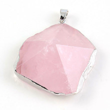 Trendy-beads Silver Plated Irregular Shape Original Rose Pink Quartz Section Pendant For Christmas Gift