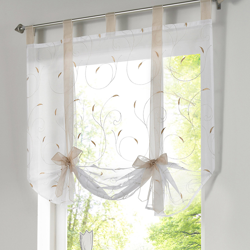 Simple All Match Embroidered Window Floral Short Curtains