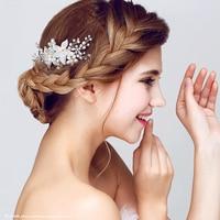 Chapado en plata centro de la perla de la flor peinetas boda encanto pelo nupcial accesorios crystal elegent peinetas