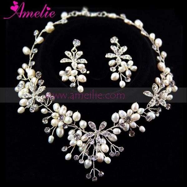 Handmade Silver Plated Freshwater Pearls and Rhinestone Wedding