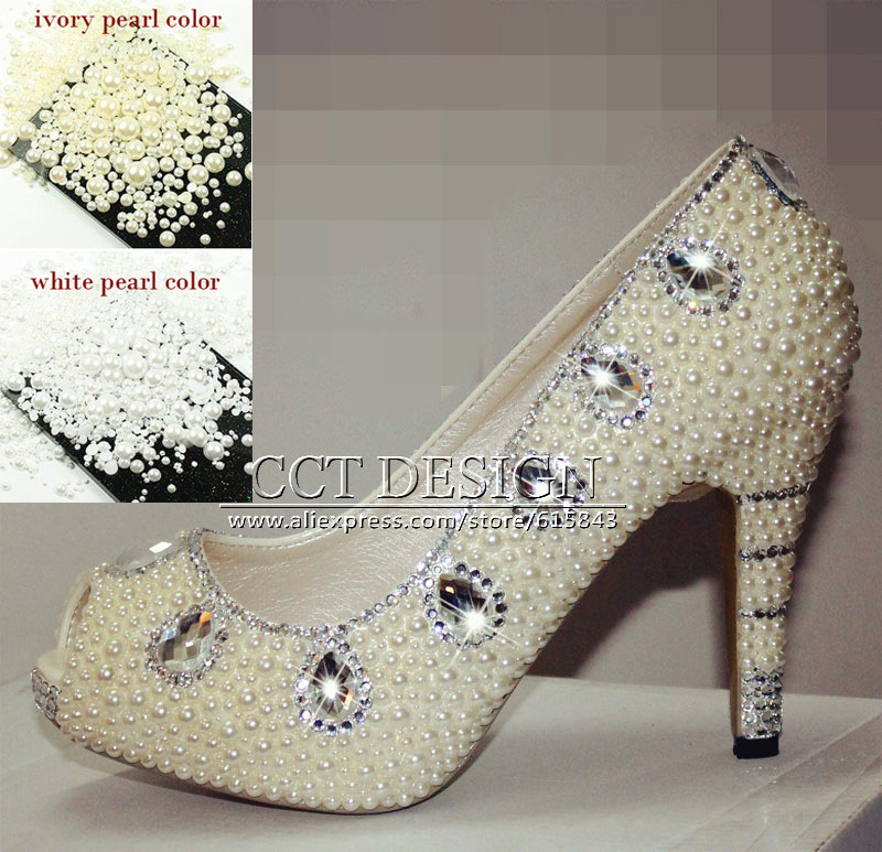 Fashion Women Peep Toe Platforms Silver Diamond And White Ivory Pearls Wedding Shoes Rhinestone Party Prom High Heels