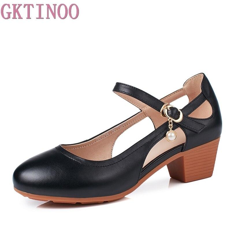 GKTINOO 女性の本革の Med かかと新夏サンダル古典的なカットアウトオフィスの女性の靴のための靴パンプスサイズ 35 41  グループ上の 靴 からの レディースパンプス の中 1