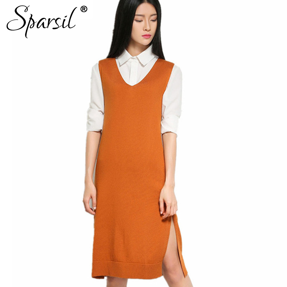 Sparsil Women Autumn&Spring Cashmere Blend V-Neck Vest Sweater Fashion Sleeveless Knitted Sweaters Dress Female Knitwear Jumper