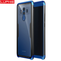 For Huawei Mate 10 Pro Case Aluminum Metal Tempered Glass PC Back Cover Case For Huawei