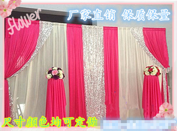 Luxury 3x6m pink color fabric wedding backdrop curtains with swag in gauze curtains reception backdrops with sequin shimmer silk fabric junglespirit Images