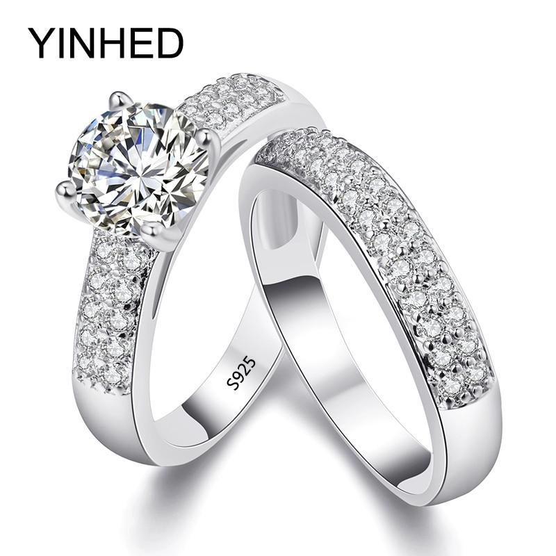 YINHED 2017 Anneaux de mariage Ensemble Solide 925 En Argent Sterling 1.5 Carats Sona Simulé Diamant Bague De Fiançailles pour Les Femmes ZR284