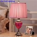 Romantic Fashion Pink Glass Fabric Wedding Decor Table Lamp for Bedroom Bedside Living Room AC 80-265V Led E27 Desk Lamp 1200