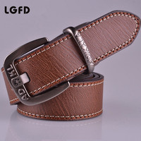 20164 Classic Double Side Stitched Sewing Superfine Fiber Leather Men Belt