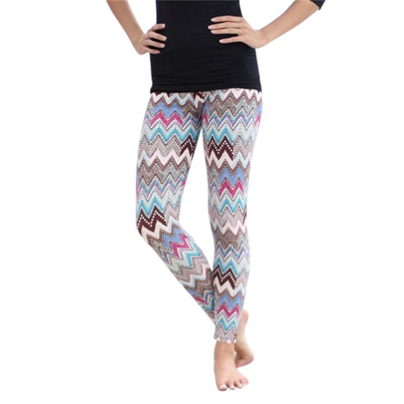 Coral Comfy Colored Tribal Aztec Print Leggings Women Slim Stretch Pants Slim