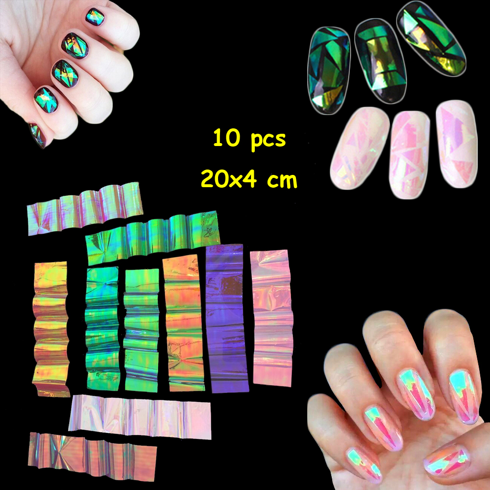 10 pcs Colorful Broken Mirror Glass Nail Sticker Foil Tips Stencil Decal Nail Beauty Art Sticker Nail Care DIY nail art Foonbe colorful diy 3d butterfly wall sticker mirror art decal pvc paper for home showcase 12pcs