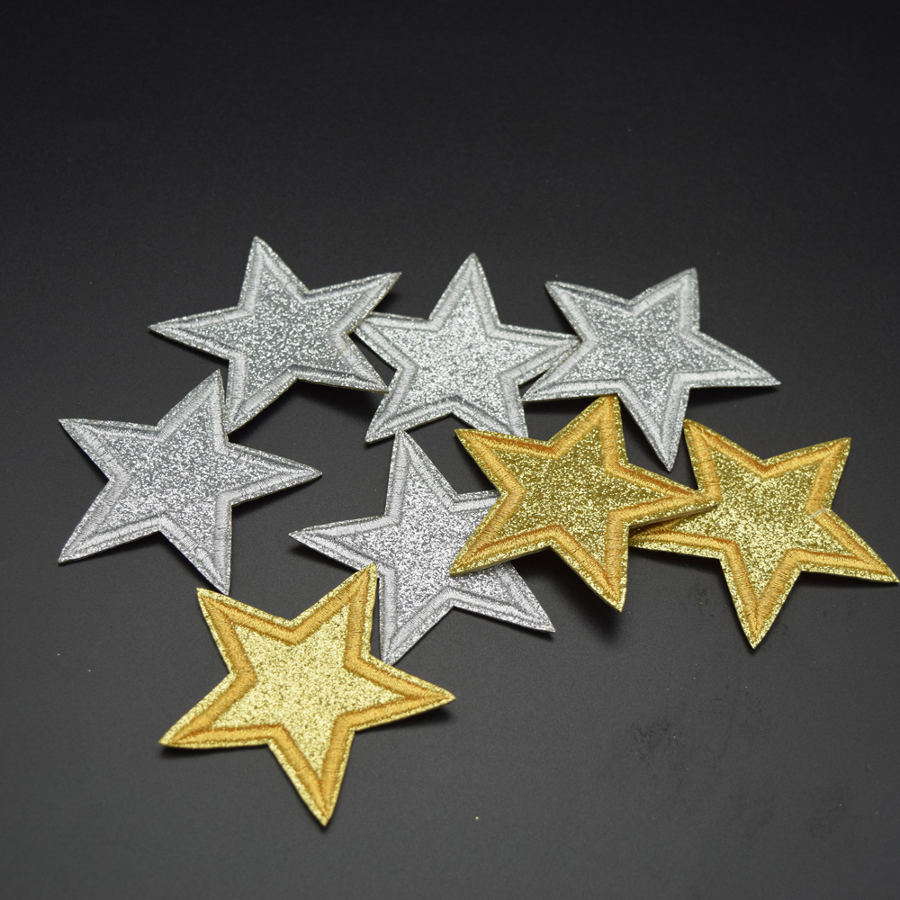 30pcs/set Gold and silver Star Embroidered Applique Sew ...