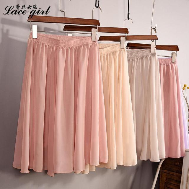 New Fashion Women's 23 Color High Waist Chiffon Skirt 2018 Summer Ladies Casual Slim Beach Pleated Skater Midi Skirts Saia SK17 3