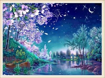 Nová mozaika plně položená kosočtvercová malba výšivka Moon River cherry květiny strom korálky křížový steh malba Inlay handwork